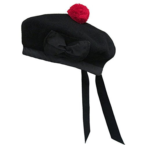 New Scottish Black Wool Balmoral Plain Hat With Red Pompom On Top  7 1 2    Uk 60