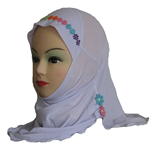 Cogongrass Girls Kids Muslim Hijab Islamic Arab Scarf Shawls with Beautiful Flowers for 3 to 8 years old Girls
