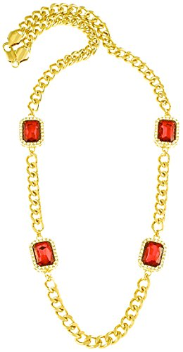 Ruby Red 4 Square Stones New Necklace Gold Color Iced Out Pendant 32 Inch 10mm Cuban Link Style Chain