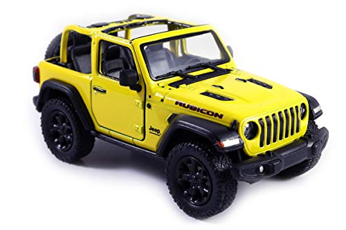 (HCK Jeep Wrangler Rubicon 4x4 Convertible Off Road Exploration Diecast Model Toy Car Yellow)