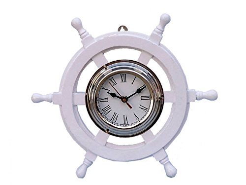 Deluxe Class White Wood and Chrome Pirate Ship Wheel Clock 12\