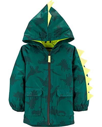 Carter's Little Boys' Critter Rainslicker Midweight Rain Jacket, Green Dinosaur, 5/6