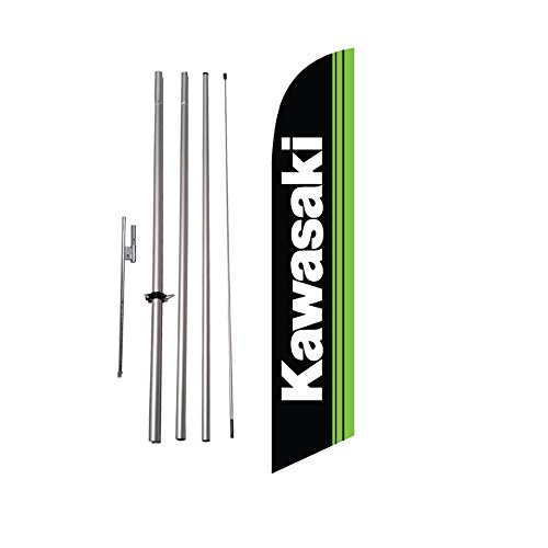 Cheap New Kawasaki Advertising Feather Flag Banner w/ Pole kit and Ground Spike