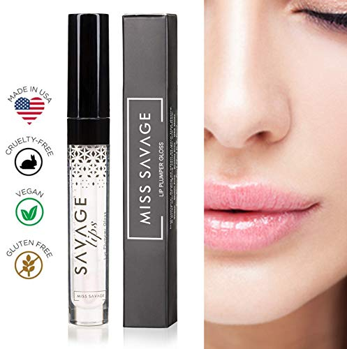Lip Plumper Lip Gloss is All Natural Serum with Vitamin E, Antioxidants and Hydrating Skin Conditioning Agents for Pouty Shiny Lips by Miss Savage - Lip Plumpers that Really Work