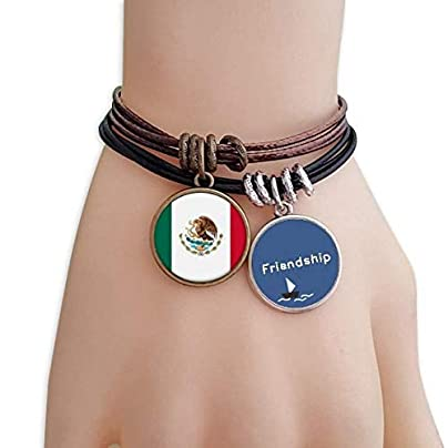 YMNW Mexico National Flag North America Country Friendship Bracelet Leather Rope Wristband Couple Set Estimated Price -