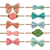 Baby Girl Headbands and bows - Nylon Headband Fits newborn toddler infant girls (Sky Collection)