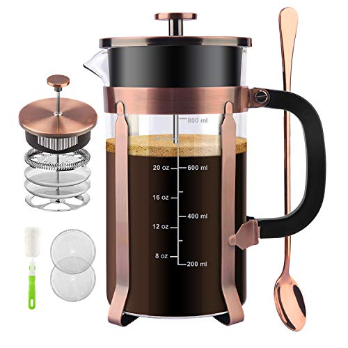 CENGAN French Press Coffee Maker,34 Ounce,1.0 Liter,18/10 Stainless Steel,Heat Resistant Borosilicate Glass,with 4 Level Filtration System