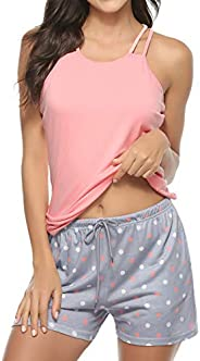 Hawiton Women's Cotton Long Sleeve Pajamas Set Sleepwear Dot Pattern Bottom Lounge Nightg
