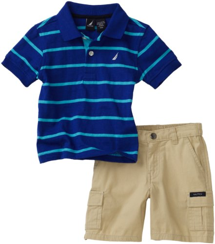 Nautica Sportswear Kids Baby Boys' Thin Stripe Shirt With Cargo Short Set