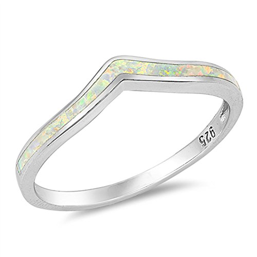 White Opal Thin (White Simulated Opal Thin Stackable Knuckle Ring Sterling Silver Midi Band Size 10)