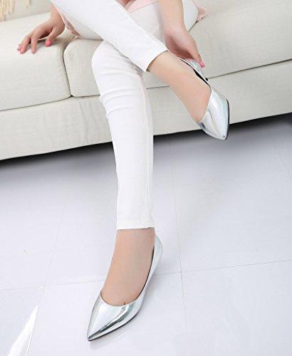 Womens Fashion Classic Slip On Pointed Toe Dress Shoes Low Heel Pump Ladies Shoes 06# Pu Silver RjisT