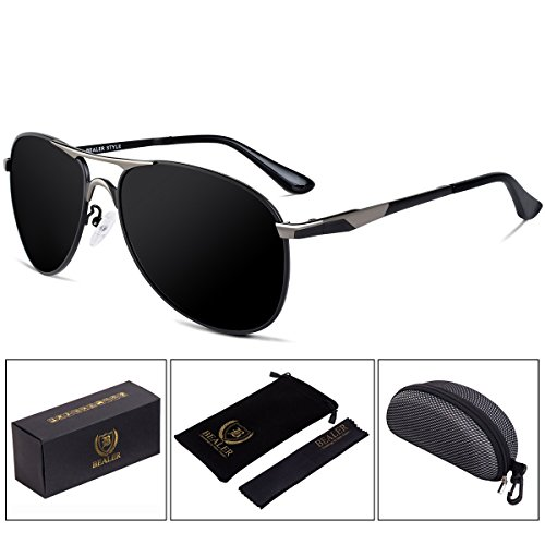 BEALER Men's Classic Metal Aviator Sunglasses Polarized with Sun Glasses Case - UV400 Protection 62mm (Gray&Black, - Aviator What Are Sunglasses