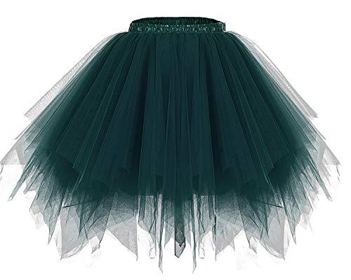 Bridesmay Women's Tutus Tulle Skirt 50s Vintage Petticoat Ballet Bubble Skirts Dark-Green L for $<!--$14.99-->
