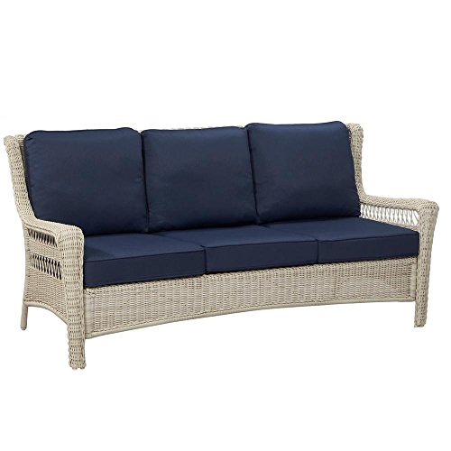 Hampton Bay Park Meadows Off-White Wicker Outdoor Sofa with Midnight Cushion