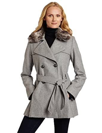Via Spiga Women's Via Spiga Pleated Wool Trench Coat with Faux Fur Collar, Grey, 2