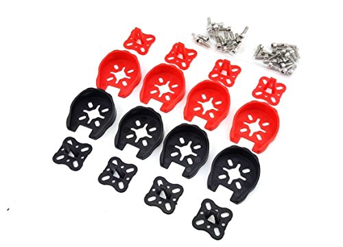 usmile 8pcs 2204 2205 2206 Motor Guard Protector Caps Universal Landing Skid Kit Gear for QAV250 ZMR250 XR215 DL220 Racing Drone Quadcopter(Red Black