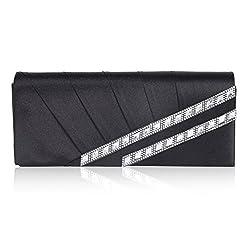 Damara Womens Slanting Pleats Rhinestone Flap Evening Bag,Black