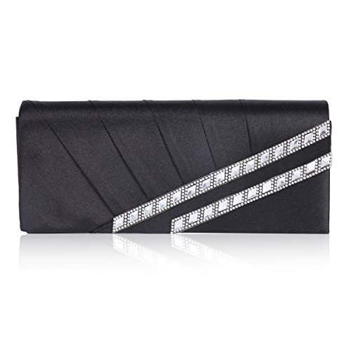 Damara Womens Slanting Pleats Rhinestone Flap Evening Bag,Black ()