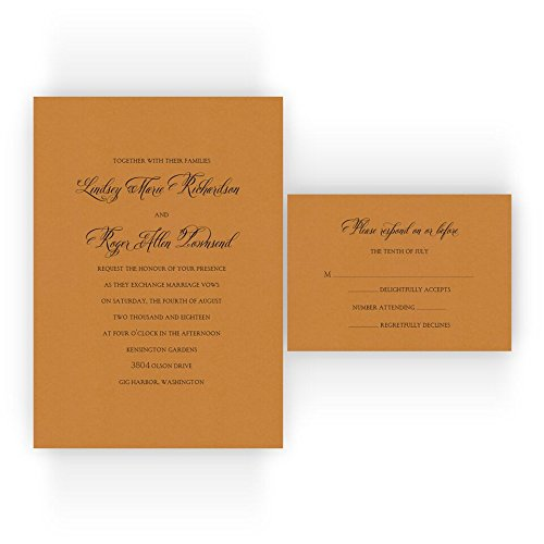 Classic Printable Wedding Invitations on Specialty Paper - Set of 50 - BV1000 (Orange Fizz)
