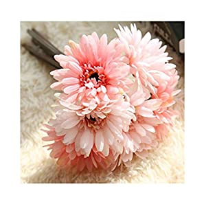 Artfen Artificial Gerbera Flower Artificial Daisy Flowers Bride Bridesmaid Holding Flowers 7 Stems Silk Daisies Flower Wedding Bouquet Living Room Office Party Garden DIY Decoration Pink 99