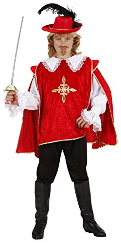 Children's Red Musketeer - Costume Medium 8-10 Yrs (140cm) For Medieval Middle (Musketeers Fancy Dress)