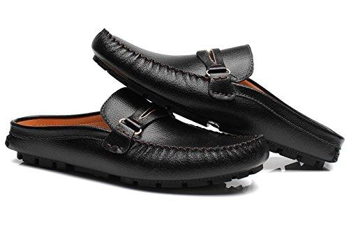 Pantoufles Pour Hommes Mules Diapositives Sandales Sabot Classique En Cuir Loisirs Casual Slip On Shoes Par Santimon Noir