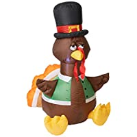Gemmy Inflateables Holiday G08 26396 Air Blown Outdoor Happy Turkey Decor