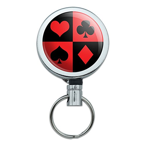 Retractable Reel Belt Clip ID Badge Key Holder Celebration Party Birthday - Casino Party Card Poker Game Night