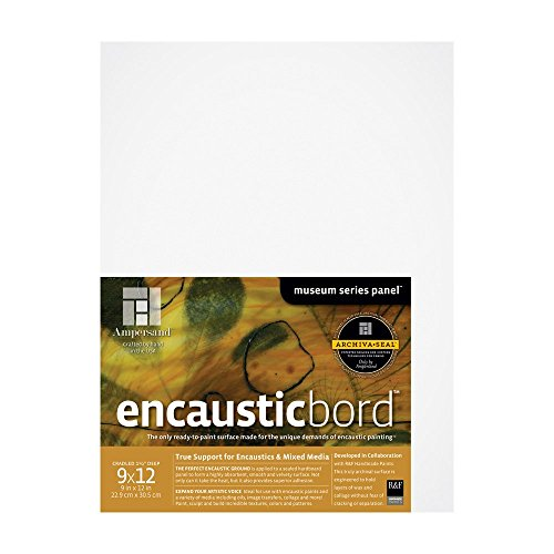 Ampersand Encausticbord Hardboard Panel for Encaustics and Mixed Media, 1.5 inch Depth Cradle, 9X12 inch (ENC150912)