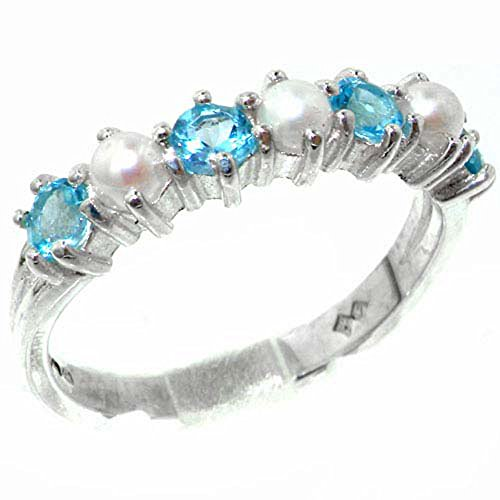 925 Sterling Silver Cultured Pearl & Blue Topaz Womans Eternity Ring - Size 11.25