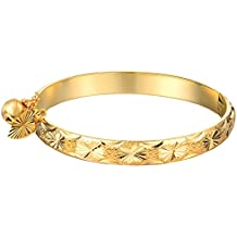 """UM Jewelry Gold Plated New Born Baby Bracelet Bangle for Infant with Charms Heart Leaf,Bell 5.31"""""""