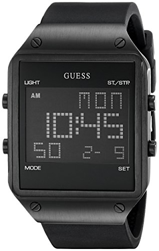 GUESS Men's U0595G1 Trendy Black Stainless Steel Watch with Digital Dial and Black Strap Buckle