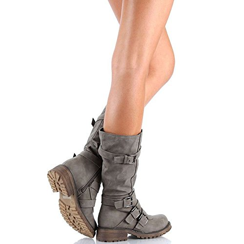 Rainlin Women's Mid-Calf Boots Suede Buckles Riding Boots Size 7.5 Grey by Rainlin (Image #2)
