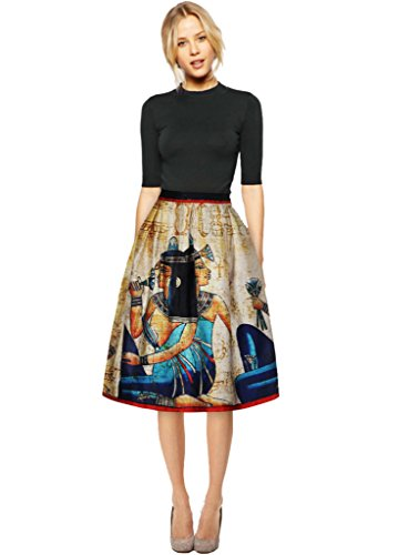 Yr.lover Women's Elegant Printed Casual Party Pleated Midi Skirt High Waist Skirt