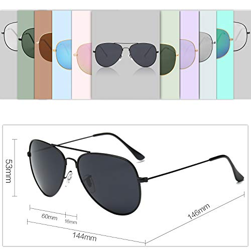 23e39c8e41a SojoS Classic Aviator Polarized Sunglasses Mirrored UV400 Lens SJ1054 With  Black Frame Grey Lens