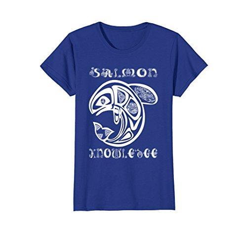 Womens Salmon of Knowledge T-Shirt Irish Ireland Celtic Graphic Tee Large Royal Blue (Salmon Irish)