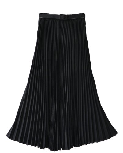 Women's Pleated Retro Maxi Long Skirt Black One Size