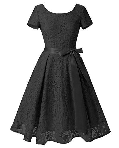 Dames Bslingerie Mode Shortsleeve Dentelle Cocktail Robe Une Pièce Noire