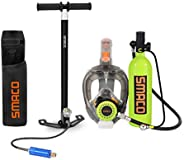 SMACO Scuba Tank & Snorkel Mask Diving Gear for Diver Mini Diving Tank Oxygen Cylinder with 15-20 Minutes