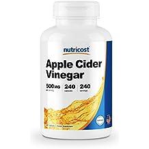 Nutricost Apple Cider Vinegar Capsules 500mg, 240 Veggie Capsules - Extra Strength, Non-GMO and Gluten Free
