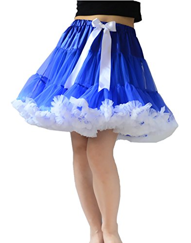 YSJ Women's Pettiskirt 3-Layered Tutu Chiffon Petticoat Pleated Mini Skirt (Blue+White), One Size (Ruffled White Pettiskirt)