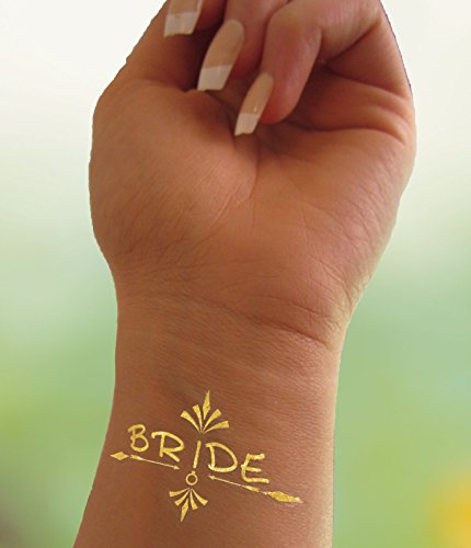 Bachelorette Party Tattoos, Bride Tribe for Bridal Shower Favors, Wedding Tattoo for Bridesmaid Gold Metallic Set Of 11 Temporary Removable Fabulous Cute Funny and Simple Flash Tattoos