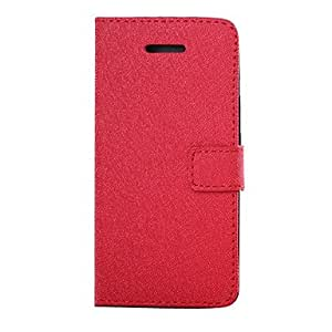 Cross Style Leather Case with Card Slot for iPhone 5C(Assorted Colors) --- COLOR:Rose