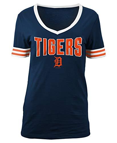New Era Detroit Tigers Women's Wordmark Jersey V-Neck T-Shirt - Sport Tiger Jersey Shirt