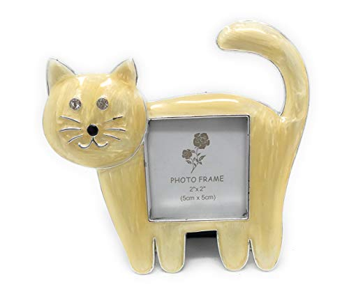 Kubla Crafts Enameled Kitty Cat Picture Frame, Holds Photo 2 Inches Wide x 2 Inches Tall, Accented with Austrian Crystals ()
