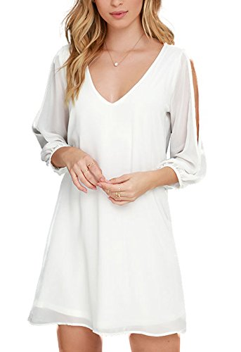 New Frocks (Yikomi Women's 3/4Sleeve V-Neck Chiffon Party Dress (S, White))