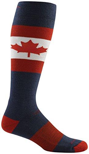 Darn Tough Merino Wool Ski O Canada Over-The-Calf Cushion Sock - Men's Maple Large (Canada Ski)