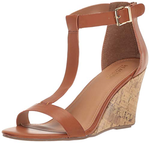 Brown Peep Toe Wedges - Kenneth Cole REACTION Women's Ava T-Strap Wedge Sandal, Luggage, 10 M US