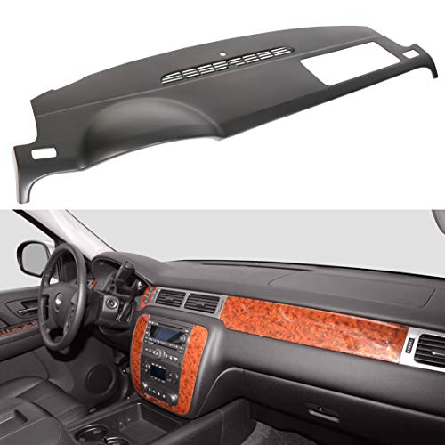 - ECOTRIC Black Molded Dash Cover Cap Skin for 2007-2014 Chevy Tahoe Avalanche Suburban GMC Yukon / 2007-2013 Silverado LTZ GMC Sierra SLT Denali Without Dash Speaker