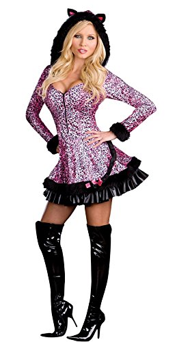 [GTH Women's Pouncer Kitty Cat Hooded Cougar Outfit Fancy Dress Sexy Costume, M (6-10)] (Cheap Sexy Plus Size Halloween Costumes)